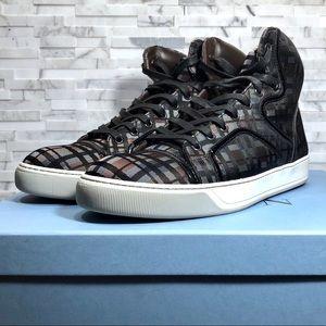 Lanvin Silk Haute Plaid Hi Top Sneakers